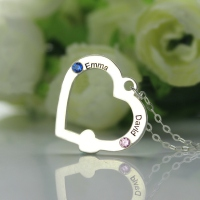 Lovely Double Name Open Heart Necklace with Birthstone Sterling Silver