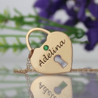 Heart Lock Keepsake Charm With Personalized Name Rose Gold