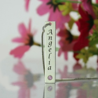 Remarkable Name Tag with Birthstone Vertical Silver Bar Necklace