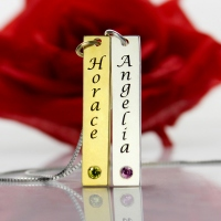 Custom Couple Name Tag Necklace with Birthstones