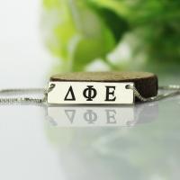 Elegant Custom Alpha Gamma Delta Greek Letter Sorority Bar Necklace