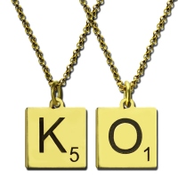 Engraved Scrabble Initial Letter Necklace 18k Gold Plated