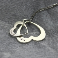 Double Heart Pendant With Names For Her Sterling Silver