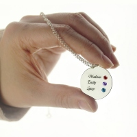 Grandma's Disc 3 Birthstones & Names Necklace