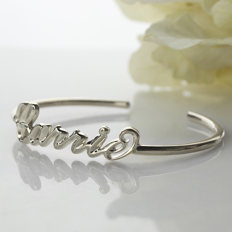 personalized sterling silver name bangle bracelet