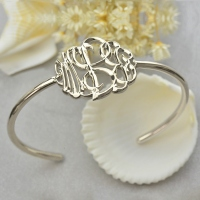 Unique Personalized Monogram Bangle Bracelet Hand-painted Silver