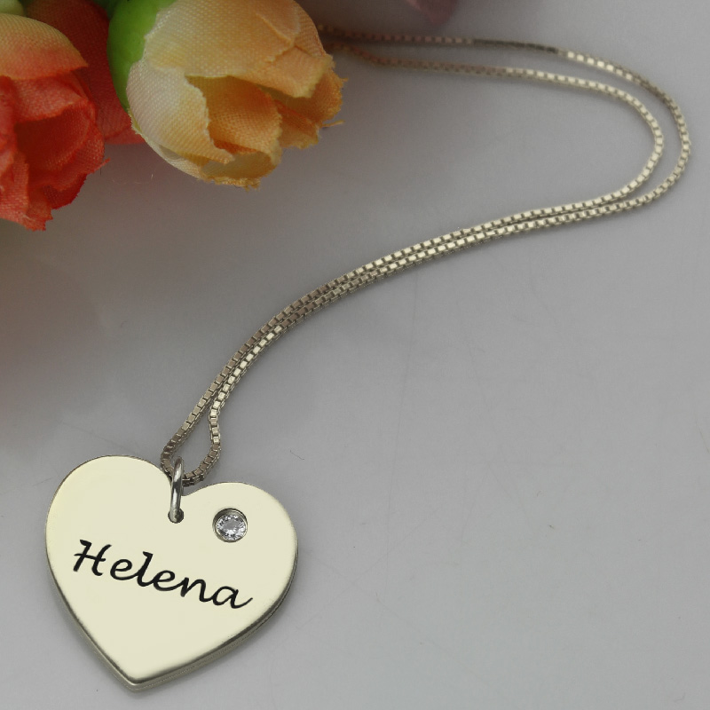 db3efbcbc3f38 Sterling Silver Simple Heart Name Necklace with Birthstone