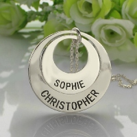 Engraved Ring Mother Necklace Sterling Silver