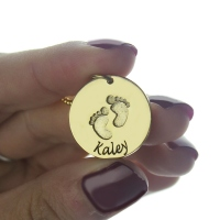 Personalized Baby Footprints Name Necklace 18k Gold Plated