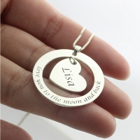 I Love You to the Moon and Back Necklace for Her Sterling Silver