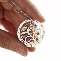 Personalized Circle Family Tree Birthstone 7 Names Necklace