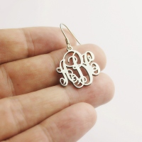 Elegant Silver Script Monogram Earrings