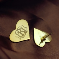 Heart Monogram Stud Earrings In Gold