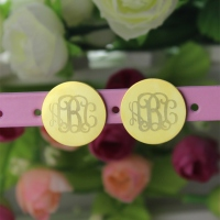 Engraved Monogram Stud Earrings In Gold