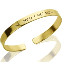 Engravable Latitude Longitude Coordinate Cuff Bracelet 18k Gold Plated