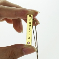 Personalized Name Tag Vertical Bar Necklace in Gold