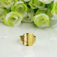 Engraved Men's Monogram Ring 18K Gold Plated