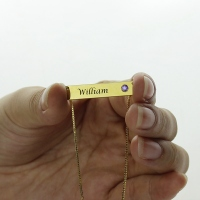 Name Bar Necklace with Birthstone 18K Gold Plated