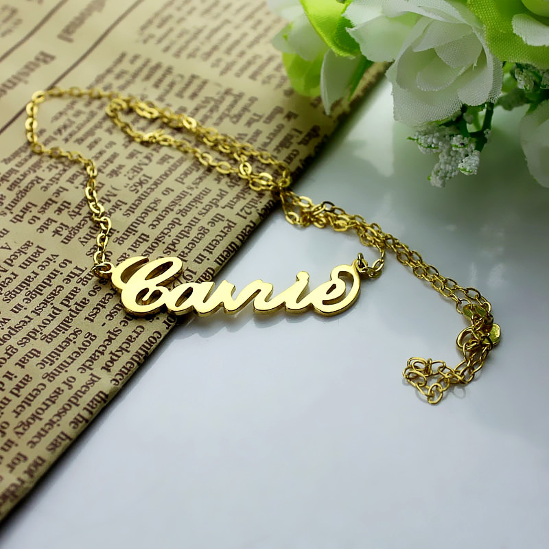 Personalized carrie name necklace solid gold 10k14k18k aloadofball Images