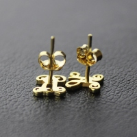 Single Monogram Stud Earrings 18K Gold Plated