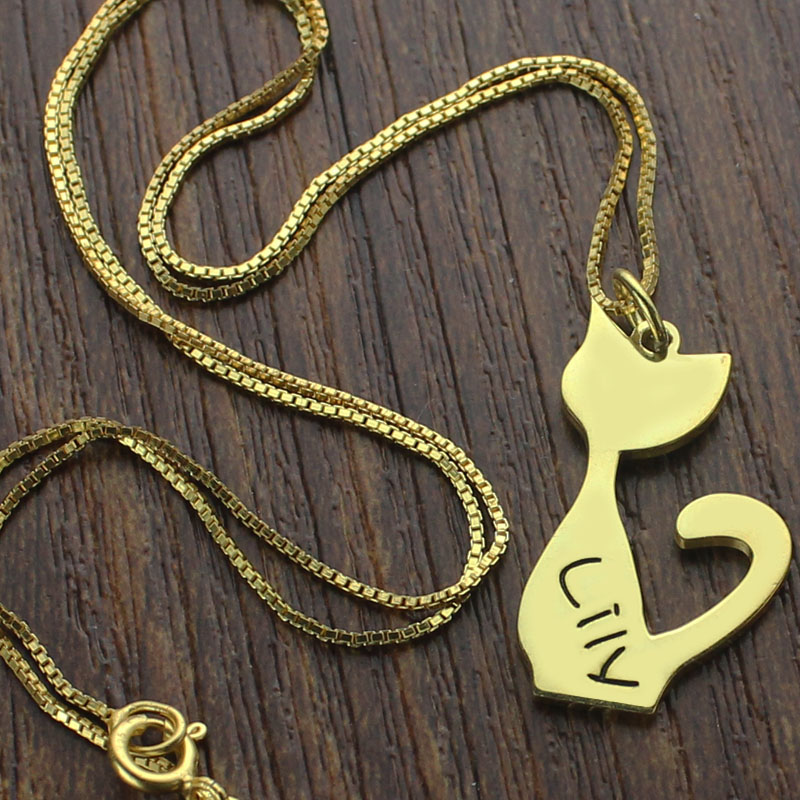 Custom cat name pendant necklace gold over aloadofball Gallery