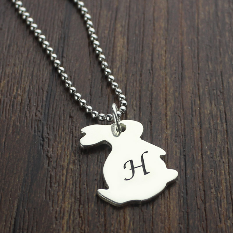 Personalized rabbit initial charm pendant sterling silver aloadofball Images