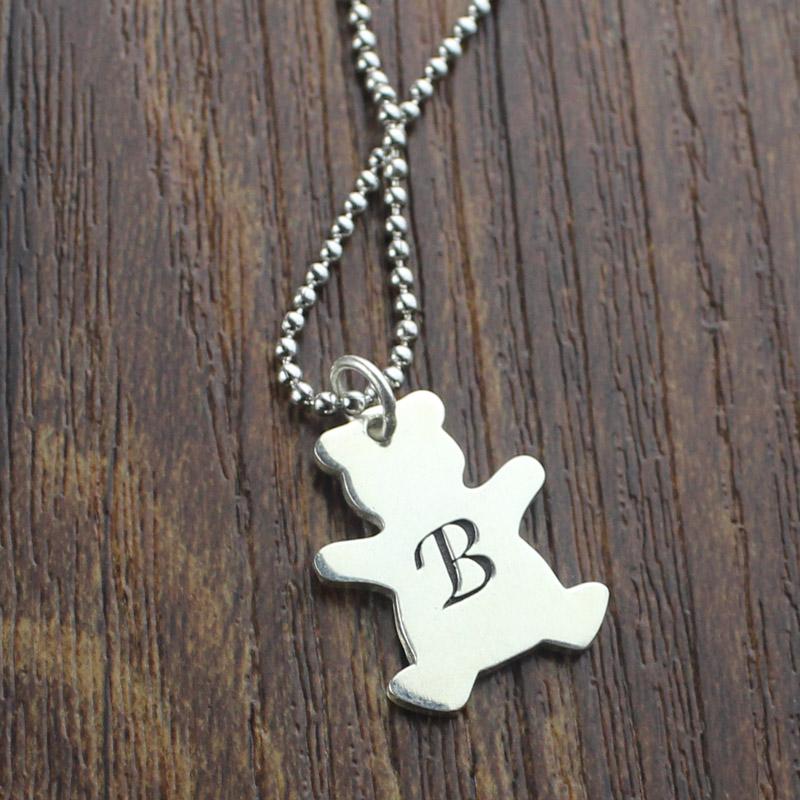 Kids Jewelry Personalized Teddy Bear Initial Necklace