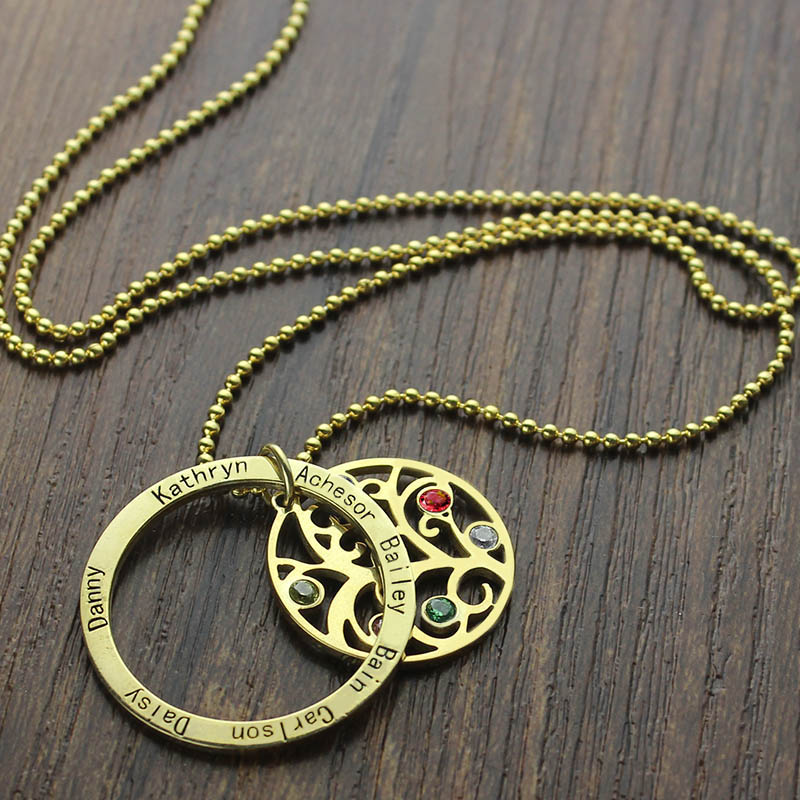 Round Family Tree With 7 Birthstones Amp Names Necklace In Gold