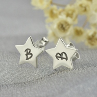 Personalized Star Stud Initial Earrings In Silver