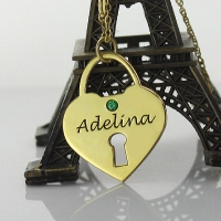 I Love You Heart Lock Keepsake Necklace With Name 18k Gold Plated