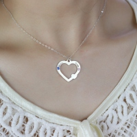 Double Name Open Heart Necklace with Birthstone Sterling Silver