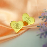 Cute Heart Monogram Gold Stud Earrings