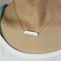 Special Roman Date Bar Necklace for Her Sterling Silver