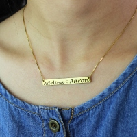 Gold Bar Lovers Necklace Engraved Double Names