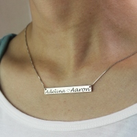 Couple Bar Necklace Engraved Names Sterling Silver