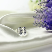 Custom Heart Ring With 3 Handmade Monogram Initials Silver