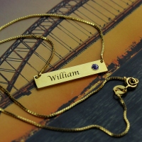 Succinct 18K Gold Plated Name Bar with Birthstone Necklace