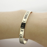 Valentine's Roman Numeral Date Cuff Bracelet Gifts for Her