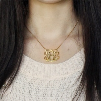 Custom Cube Monogram Initials Necklace 18K Gold Plated