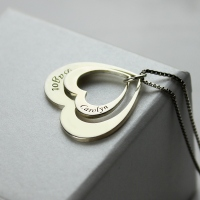 Mother Daughter Double Heart Pendant With Names