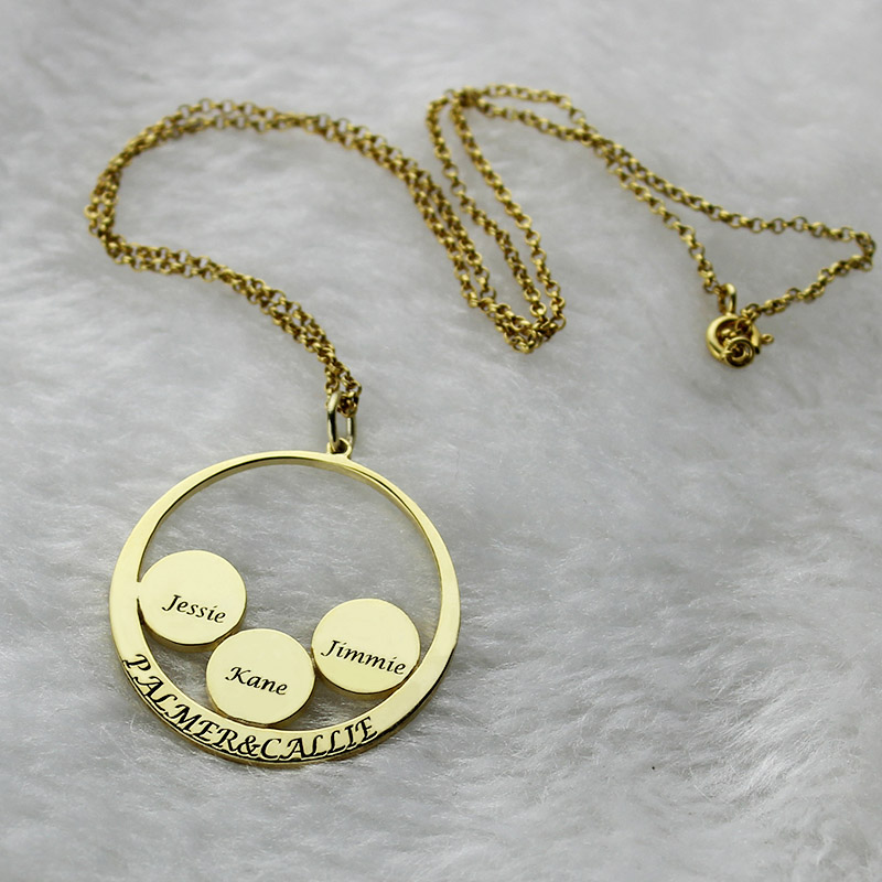 Mothers day necklace mothers family name pendant in gold aloadofball Images