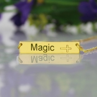 18K Gold Plated Bar Name Necklace with Customizable Icon