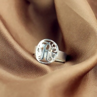 Circle Name Initial Monogrammed Ring Silver -0.59""