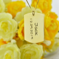 Dog Tag Pendant with Name and Birth Date Gold Plated Silver