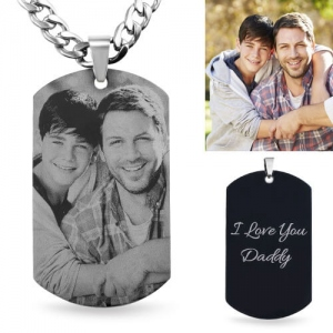 Incredible quality Photo-Engraved Black Titanium Steel Dog Tag Necklace For Father