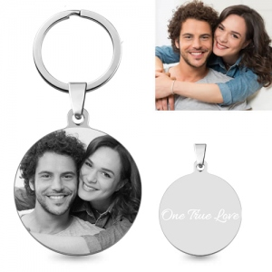 Engraved Unique Titanium Steel Round Custom Photo Keychain