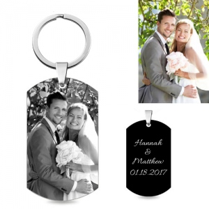 Personalized Black Titanium Steel Men's Photo KeyChain