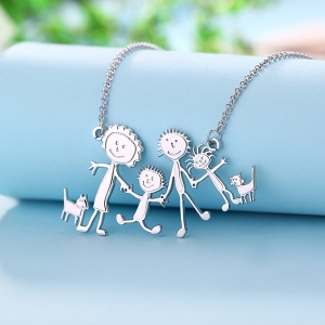 Personalized Engraved Children Art Drawing Necklace Doodle Necklace