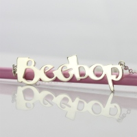 Solid White Gold Personalized Beetle Font Letter Name Necklace