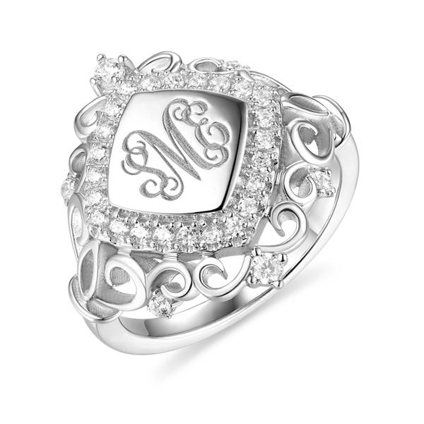 Personalized CZ Monogram Signet Ring